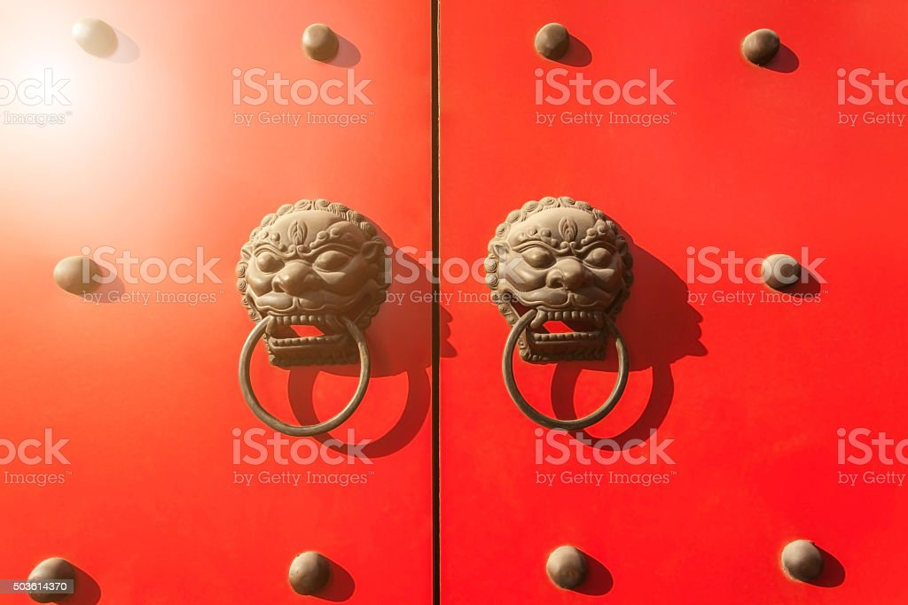 Chinese traditional door handle lion stock photo