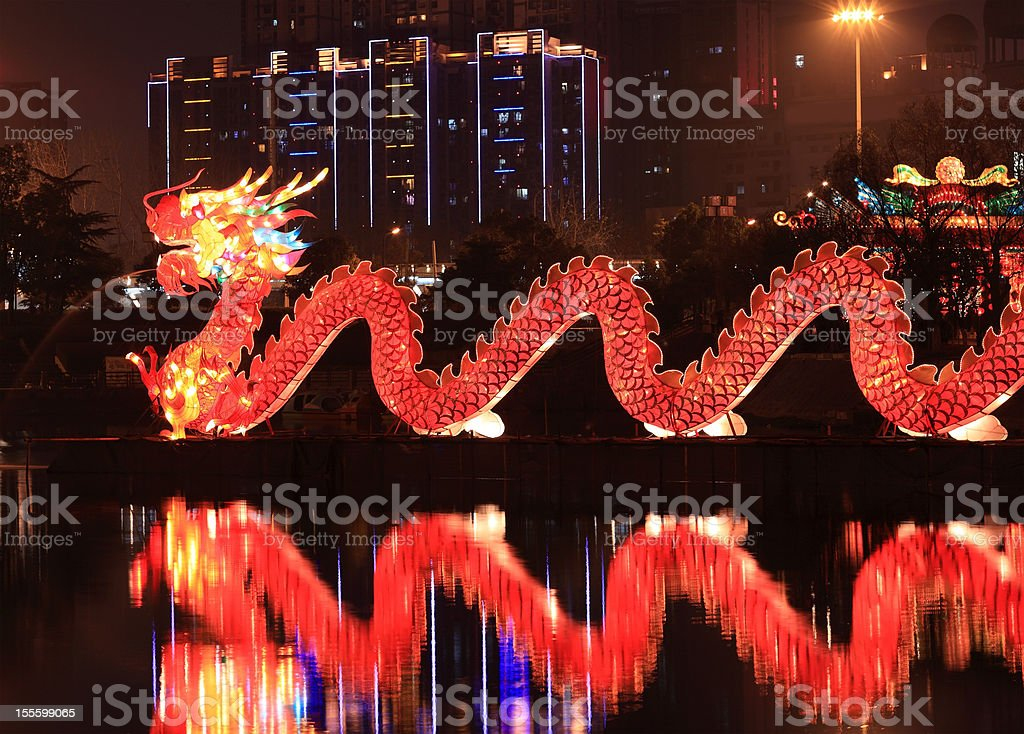 Chinese traditional dragon lantern stock photo