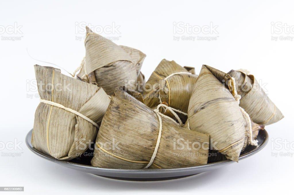 Chinese traditional food zongzi,glutenous rice dumplings, dragon   boat festival food stock photo