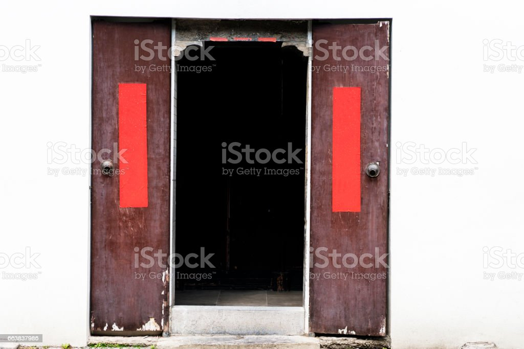 Chinese traditional gate with couplet stock photo
