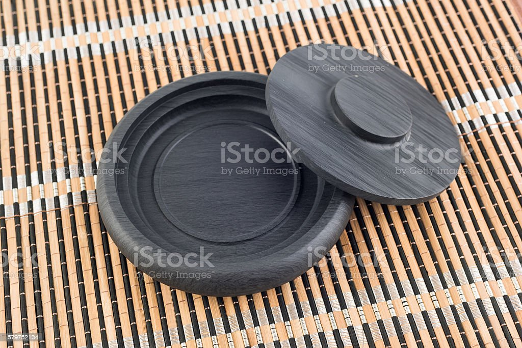 Chinese traditional ink stone stock photo