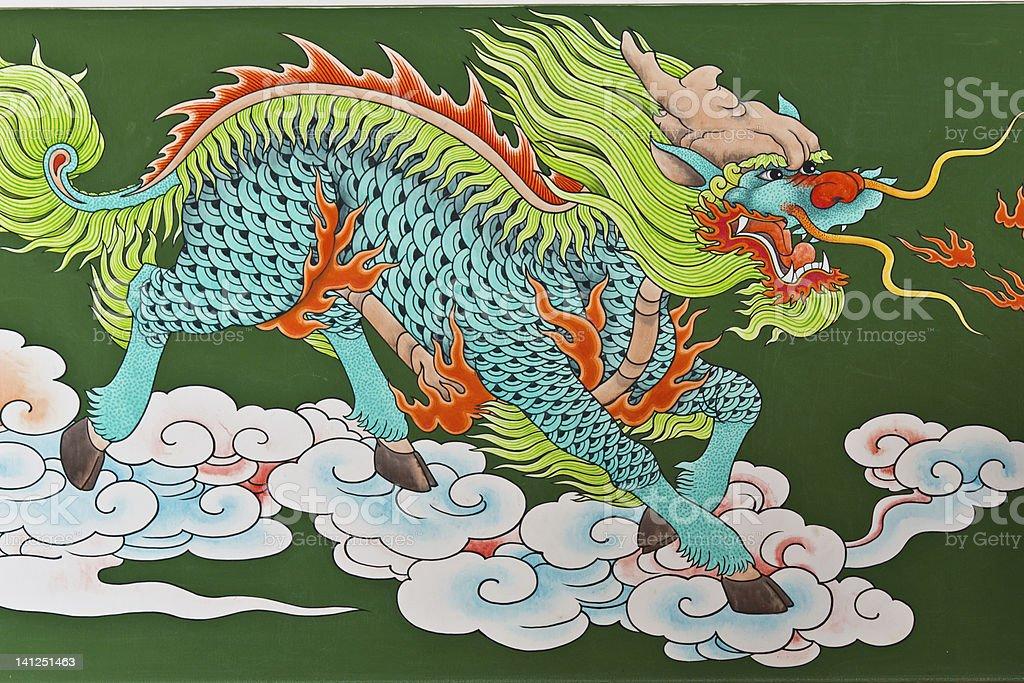 Chinese traditional kirin pattern royalty-free stock photo