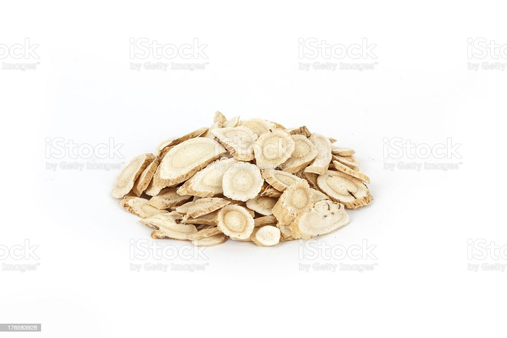 Chinese traditional medicinal herb collection, isolated over white background. stock photo