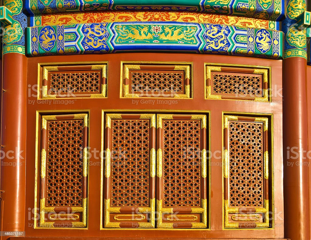 Chinese traditional patterns doors stock photo