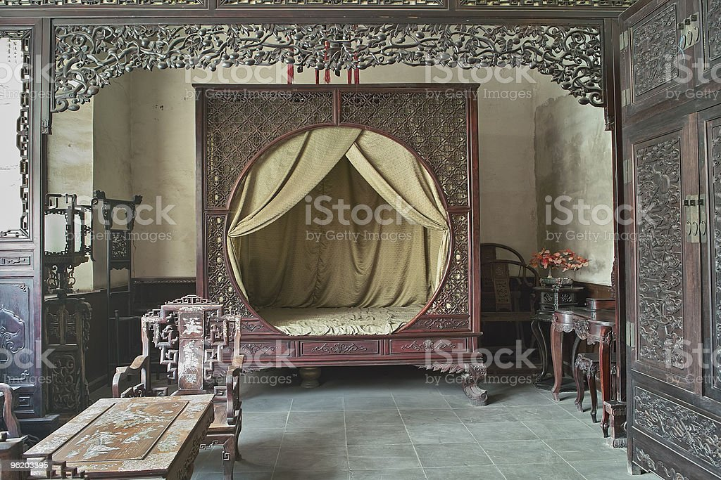 Chinese traditional style bedroom stock photo