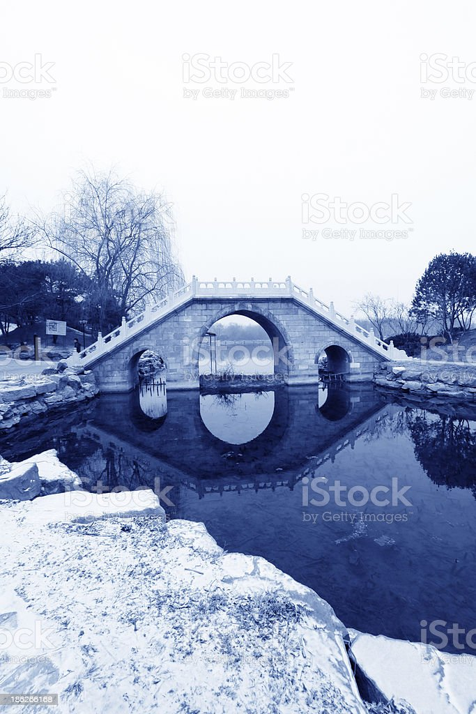 Chinese traditional style stone bridge in the snow royalty-free stock photo