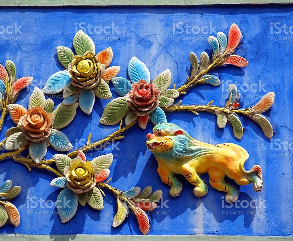 Chinese Traditional Temple Wall Decoration stock photo