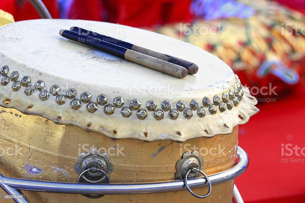 Chinese Traditional Wooden Drum stock photo