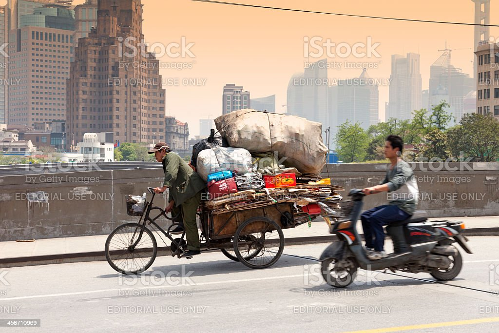 Chinese Trash Collector royalty-free stock photo