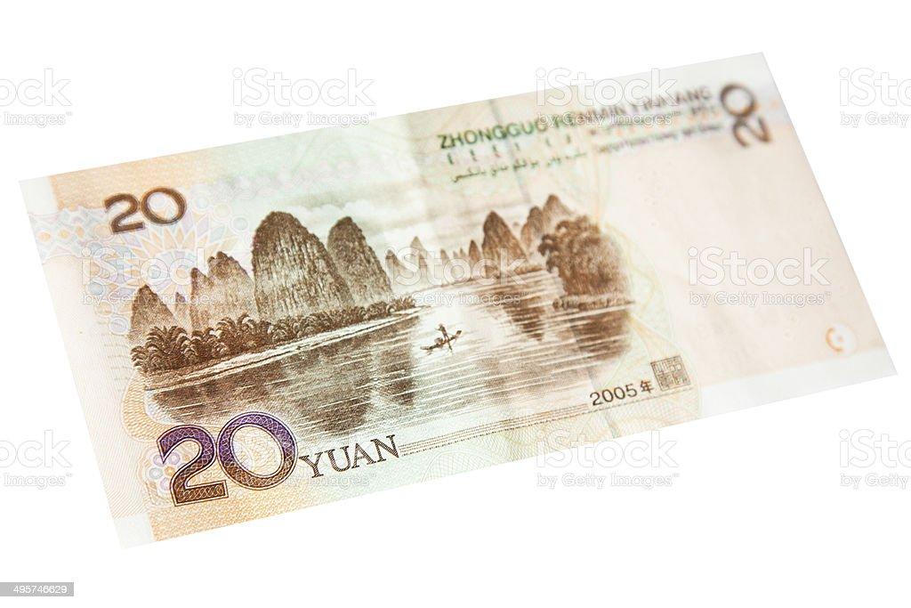 Chinese Twenty Yuan Note - Back royalty-free stock photo