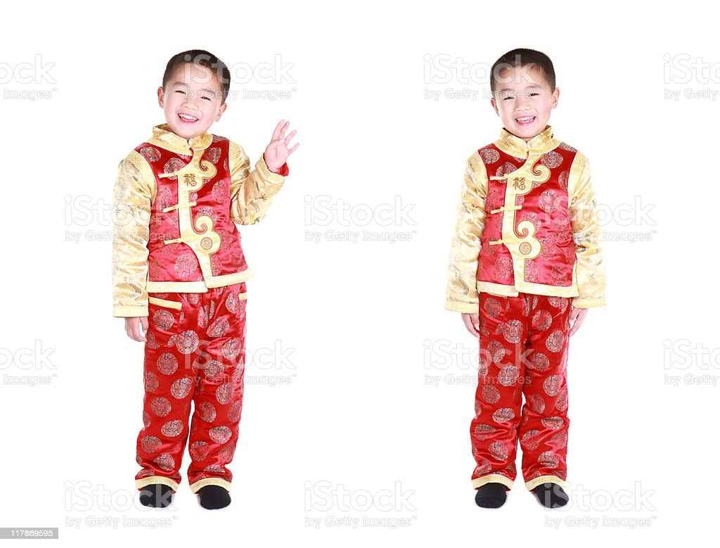 Chinese twins with traditional clothing (series) royalty-free stock photo