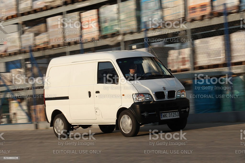 Chinese van in motion stock photo