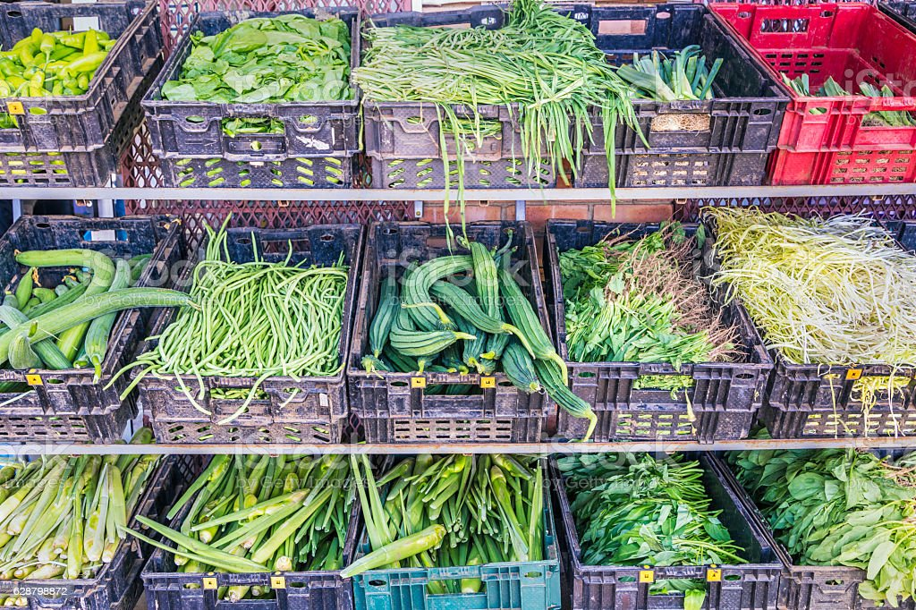 Chinese vegetables on display at the market stock photo