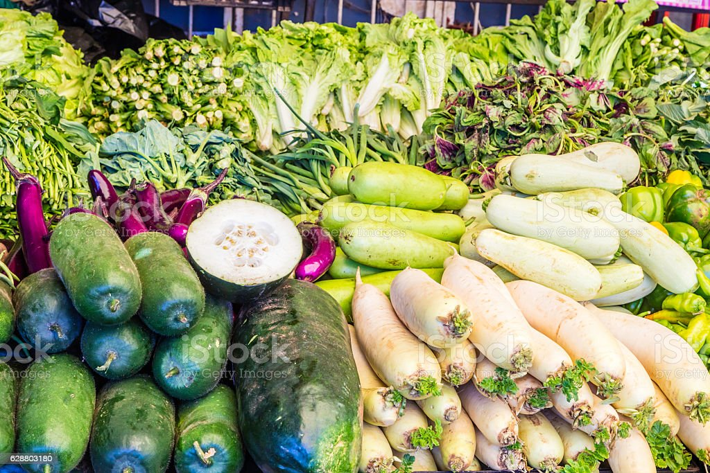 Chinese vegetables on display stock photo