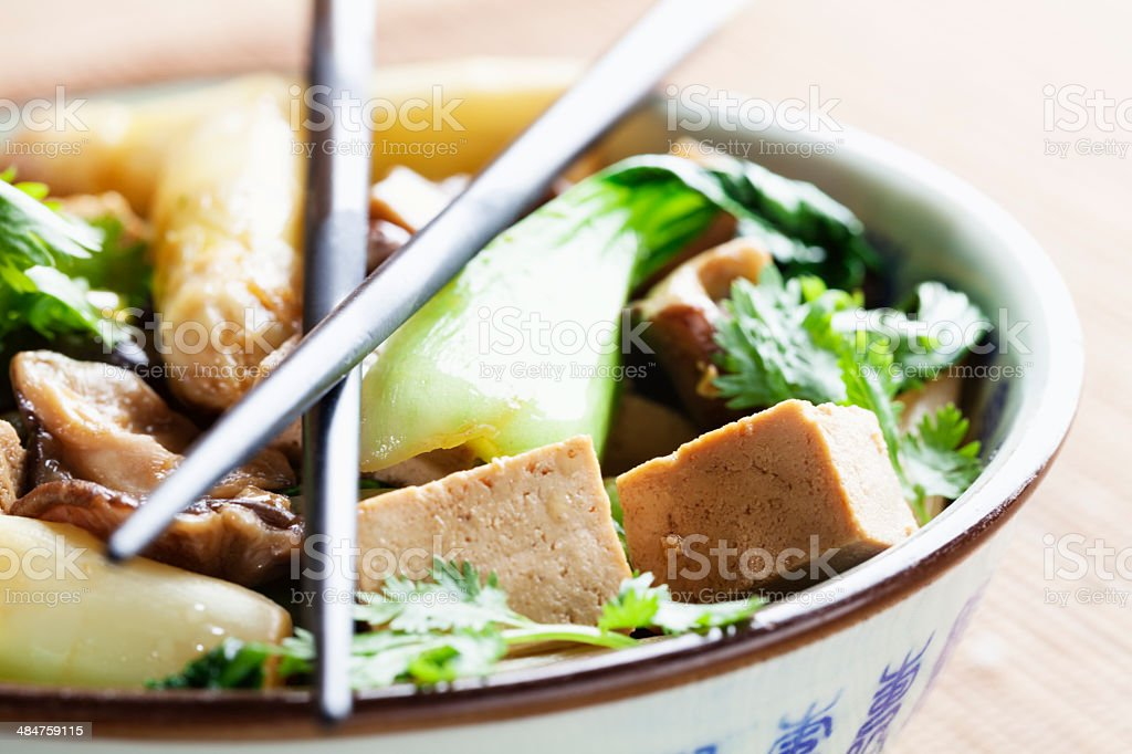 chinese vegetarian food, vegetables and tofu stock photo
