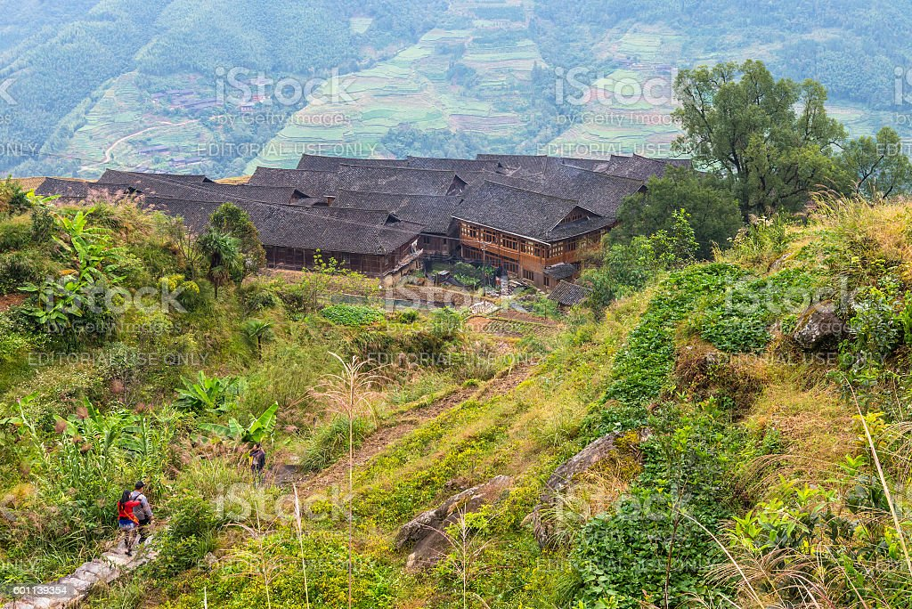 Chinese village and rice fields in cloudy weather stock photo
