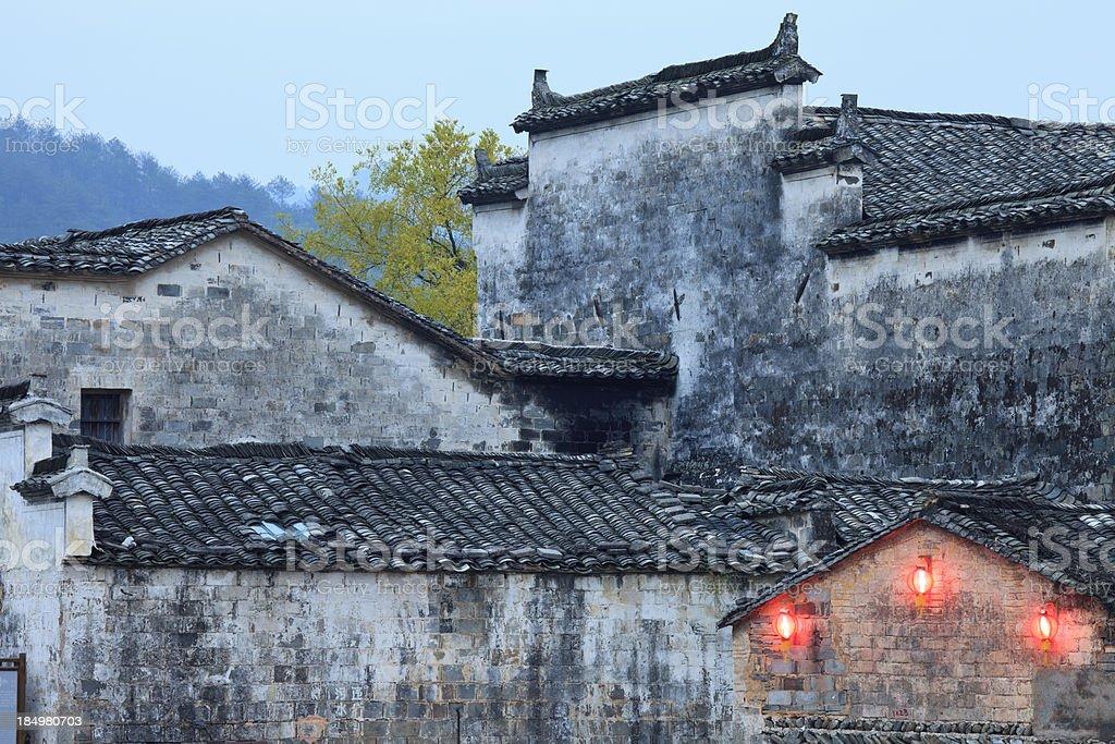 Chinese Village at Dusk stock photo