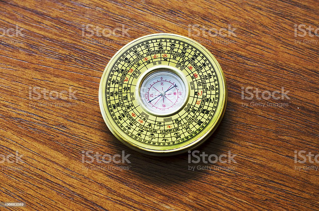 chinese Vintage compass on wooden table  background royalty-free stock photo