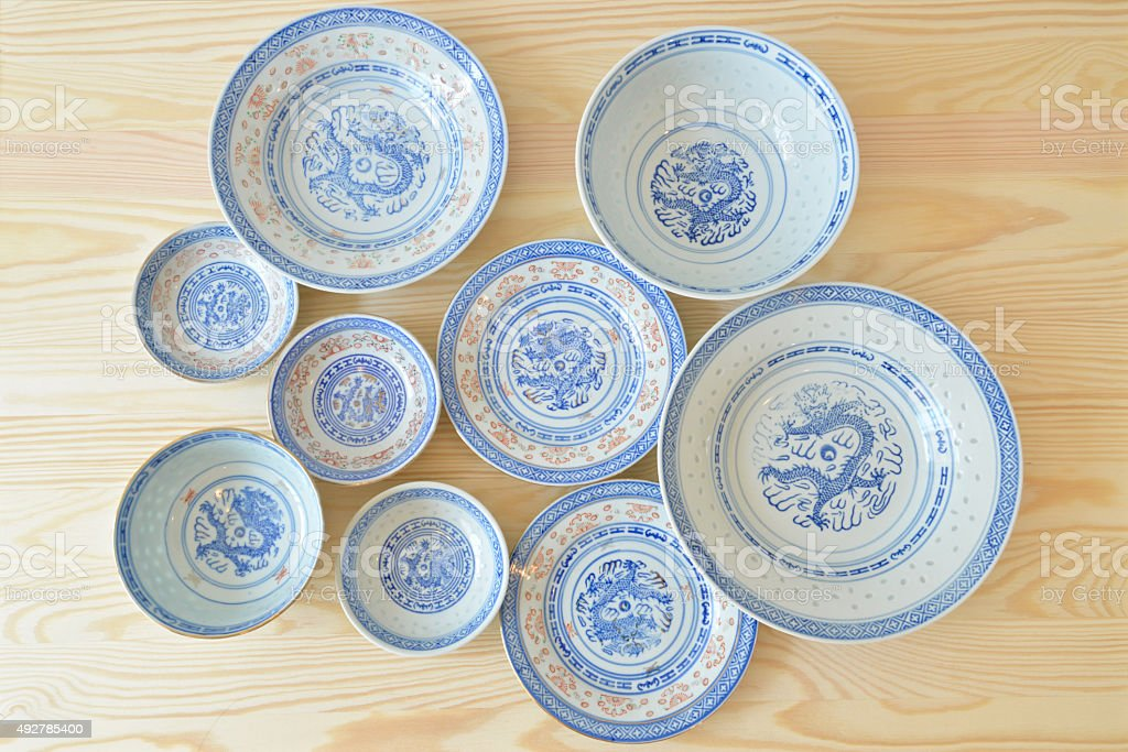 Chinese vintage style blue and white dishes. stock photo