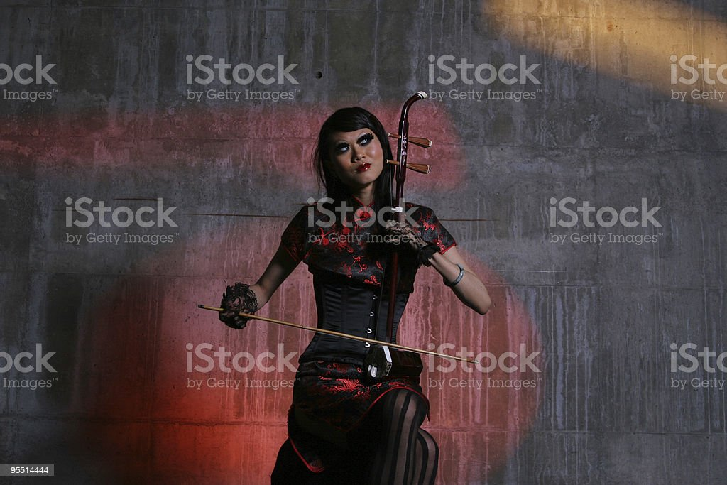 Chinese Violin Player stock photo