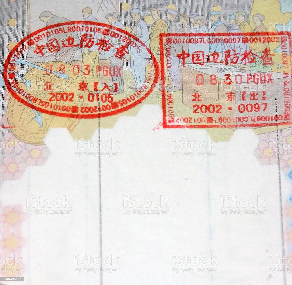 chinese visa in european passport royalty-free stock photo