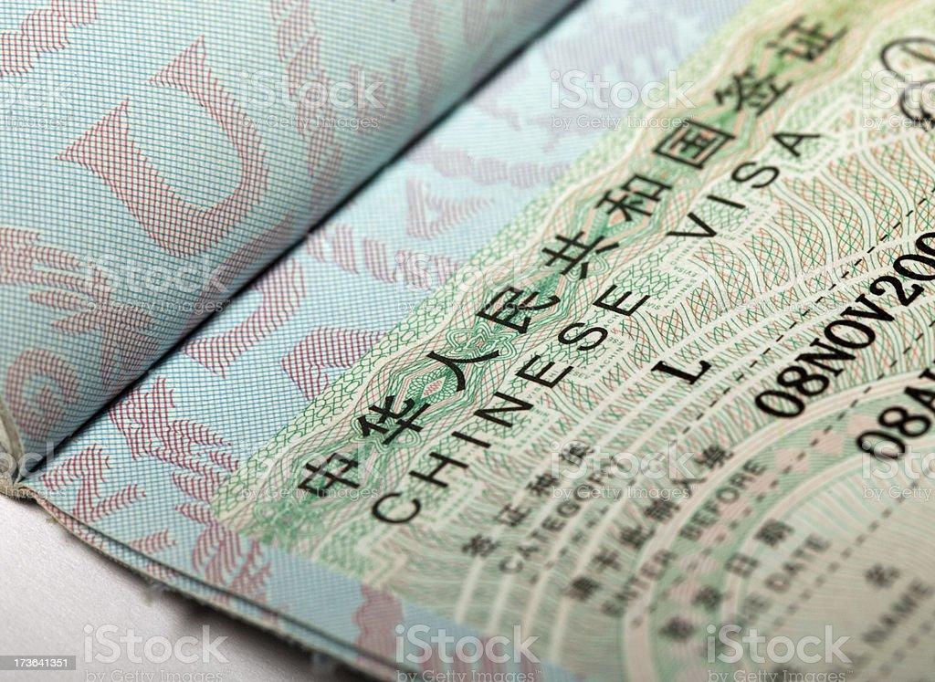 Chinese visa stock photo