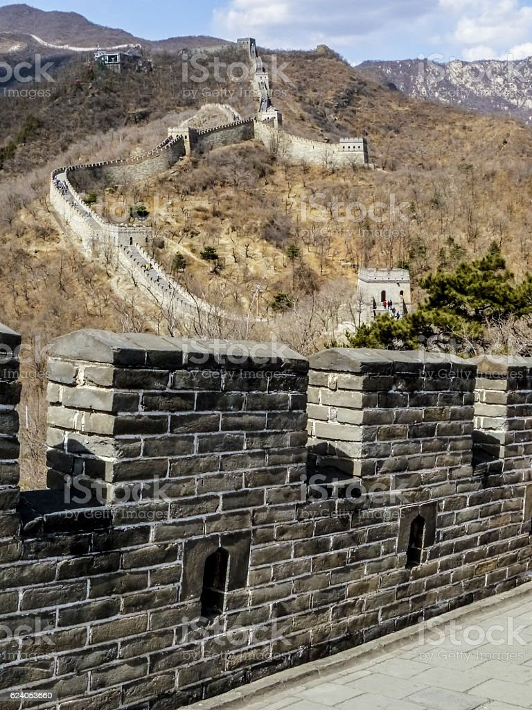 chinese wall on a foggy day stock photo