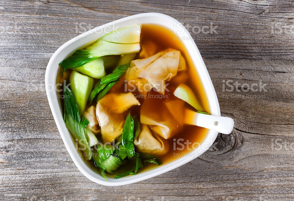 Chinese wanton and vegetable soup ready to eat stock photo