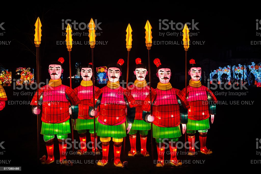 Chinese warriors lanterns stock photo