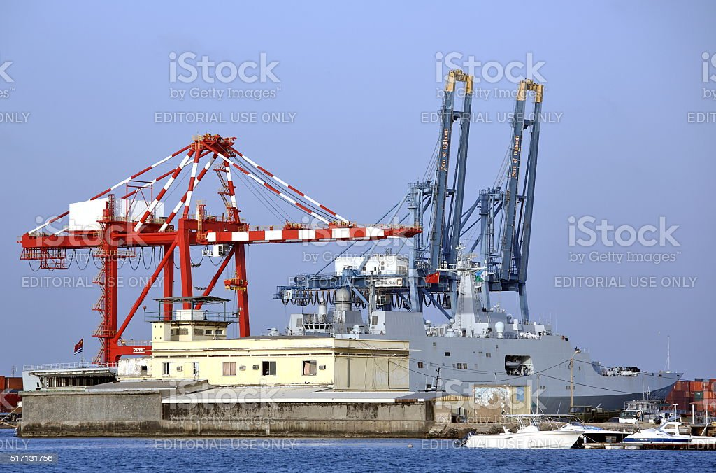 Chinese warship in the port stock photo