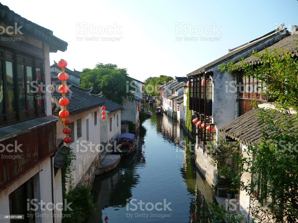Chinese water village stock photo