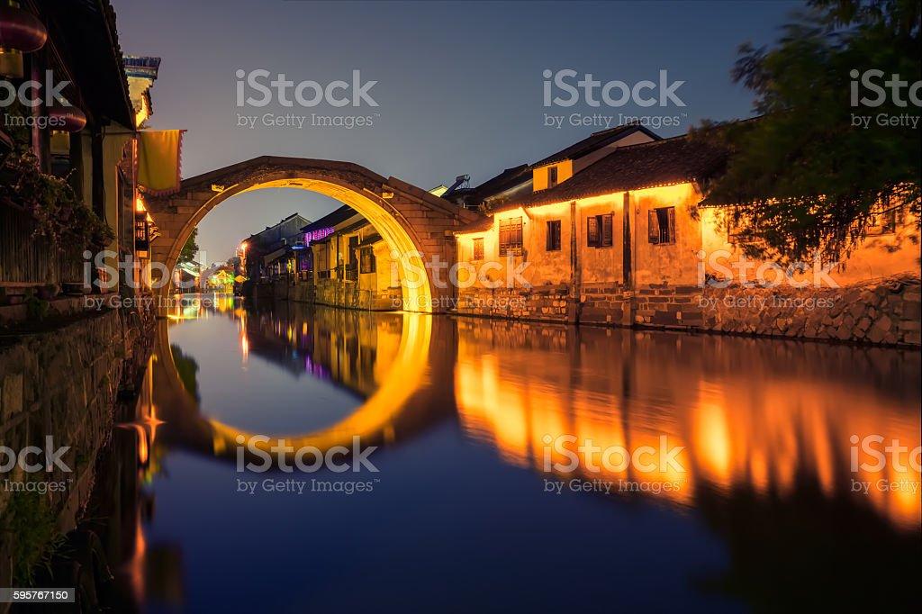 Chinese Watery town at night, Nanxun Town, Zhejiang Province, China stock photo