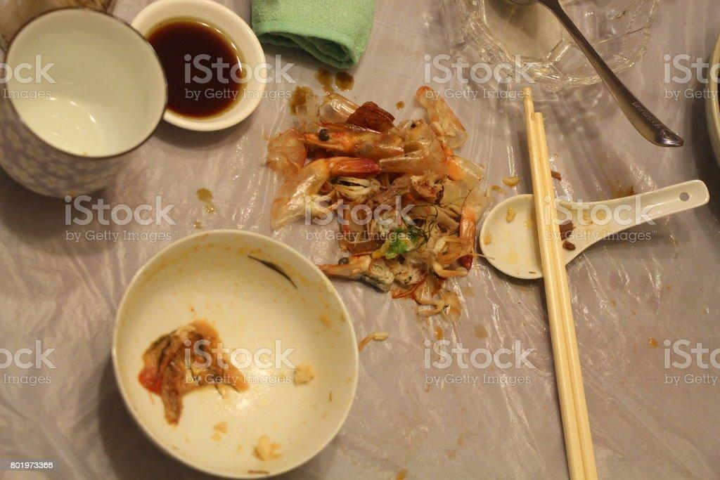 Chinese way of eating in Hong Kong - dump prawn shells on a plastic sheet stock photo
