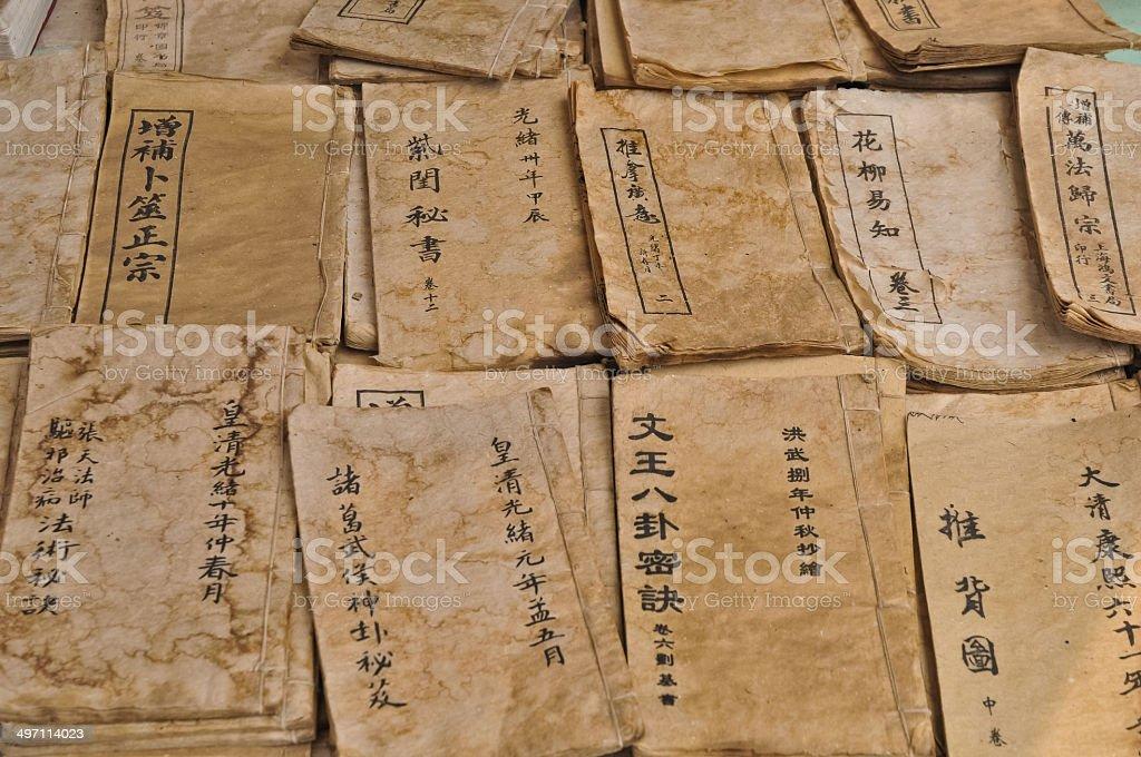 Chinese wisdom manuscript antique books stock photo