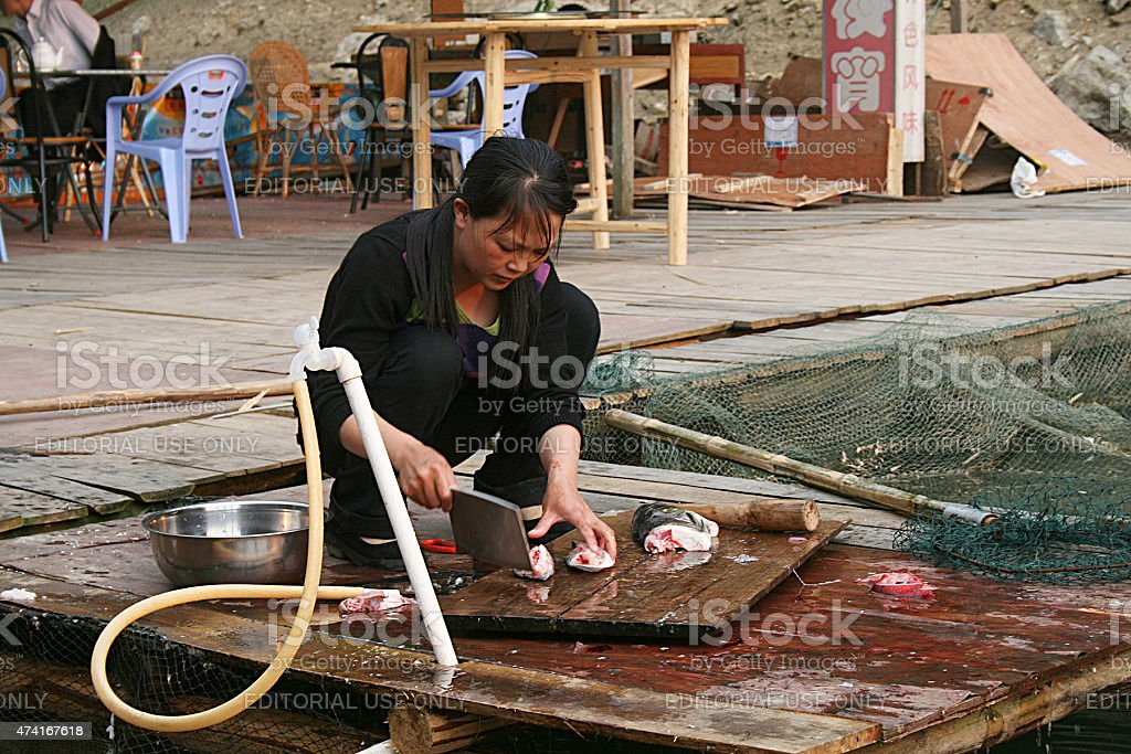 Donna cinese pulizia di pesce foto stock royalty-free