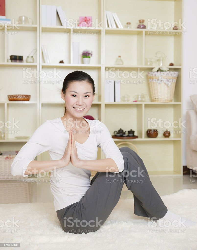 chinese woman doing yoga royalty-free stock photo
