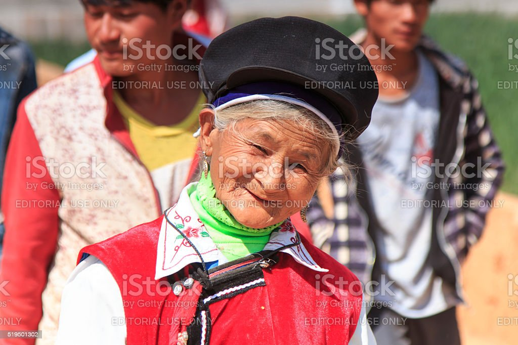 Chinese woman dressed with traditional Bai clothing stock photo