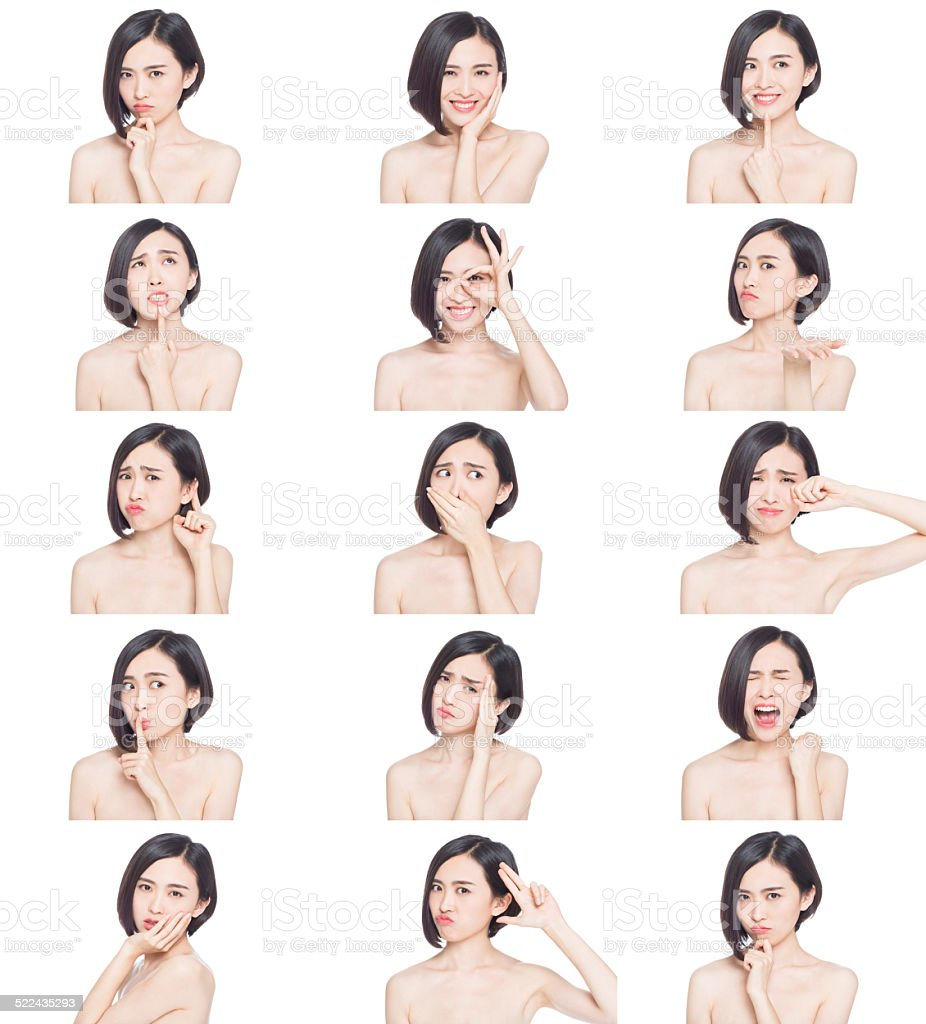 chinese woman facial expressions stock photo