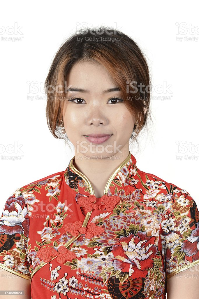 Chinese woman in Cheongsam dress royalty-free stock photo