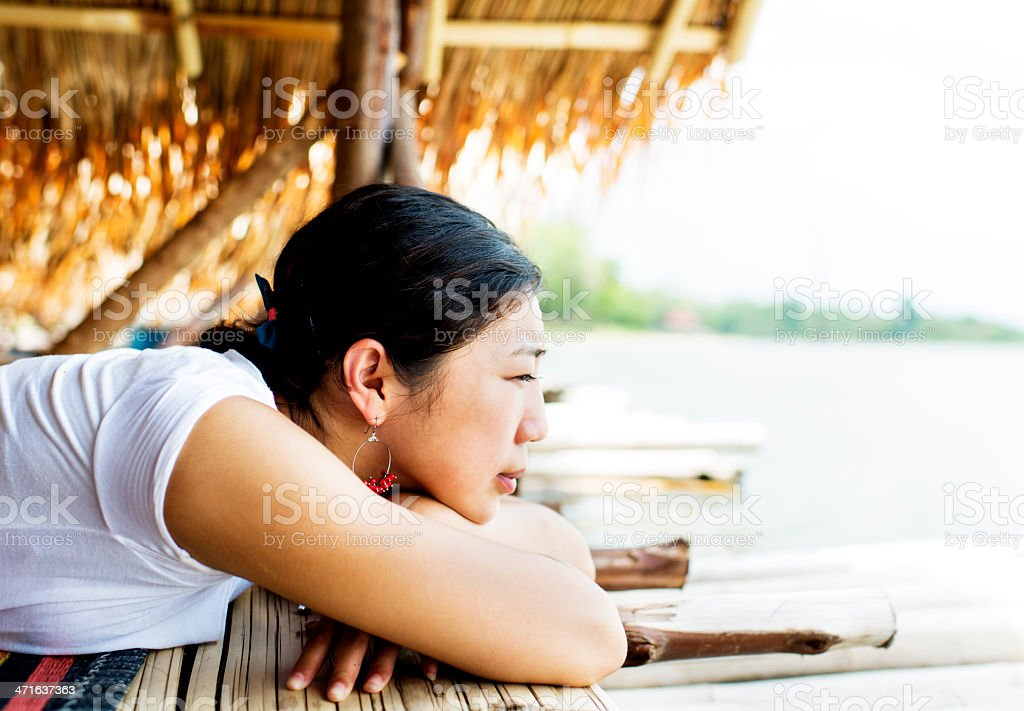 Chinese Woman Relaxing stock photo