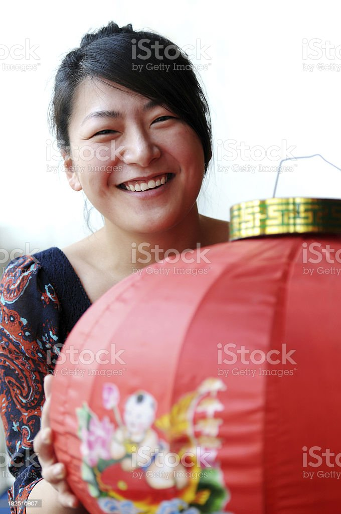 Chinese Woman with Red Lantern - XLarge royalty-free stock photo
