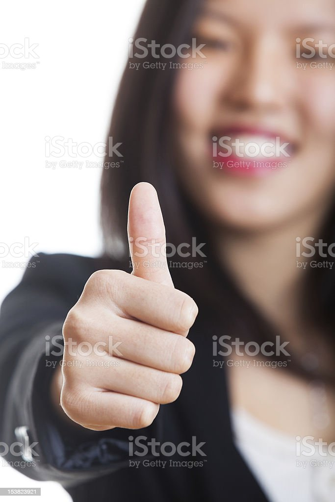 Chinese Woman with Thumb Up royalty-free stock photo