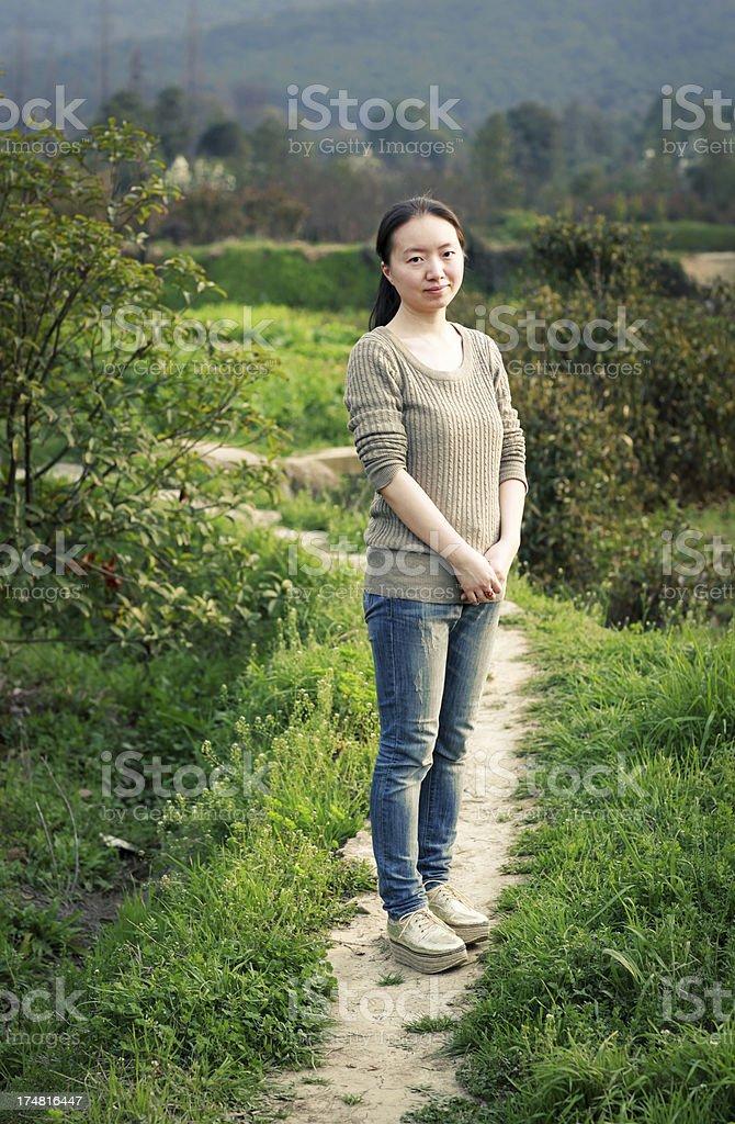 Chinese women in farmland royalty-free stock photo