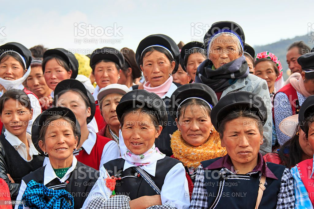 Chinese women in traditional Bai clothing stock photo