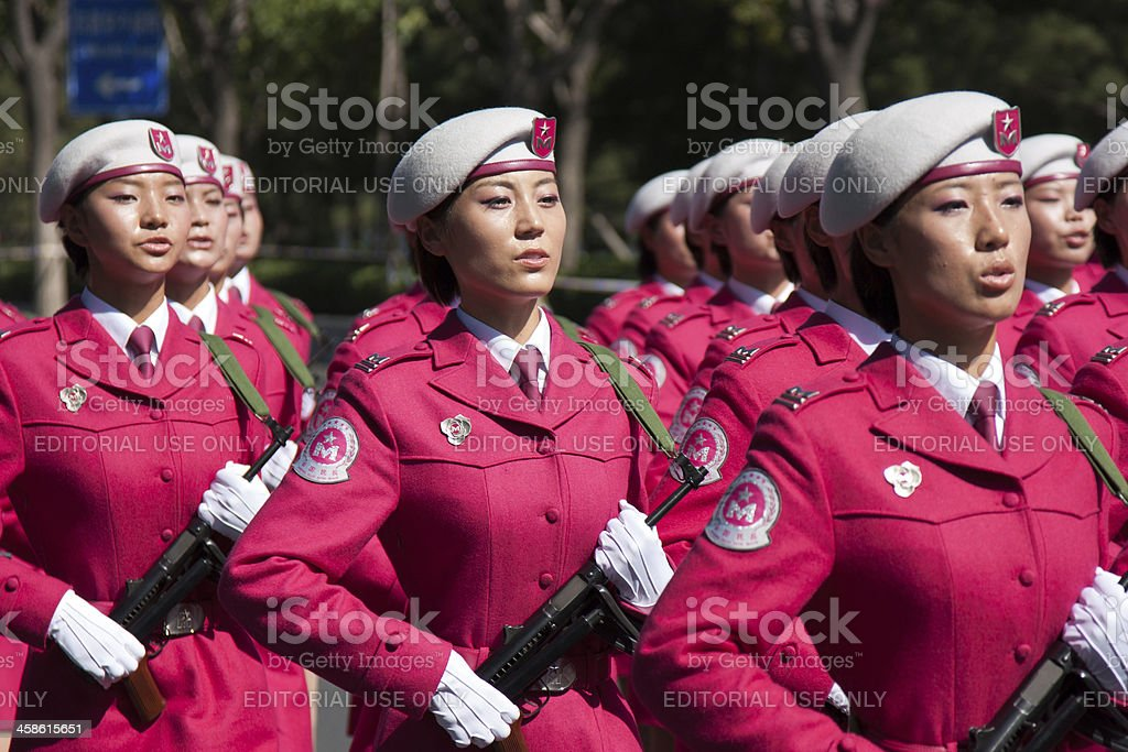Chinese women militia soldiers marching of the military parade stock photo