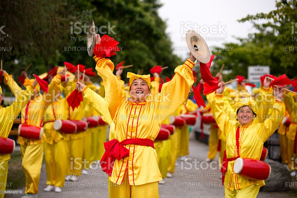 Chinese Women Parade Canada Day stock photo