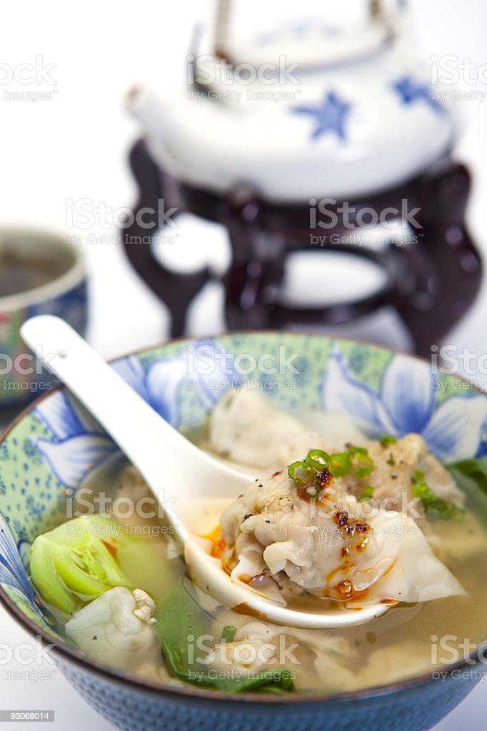 Chinese Won Ton Soup With Bok Choi stock photo