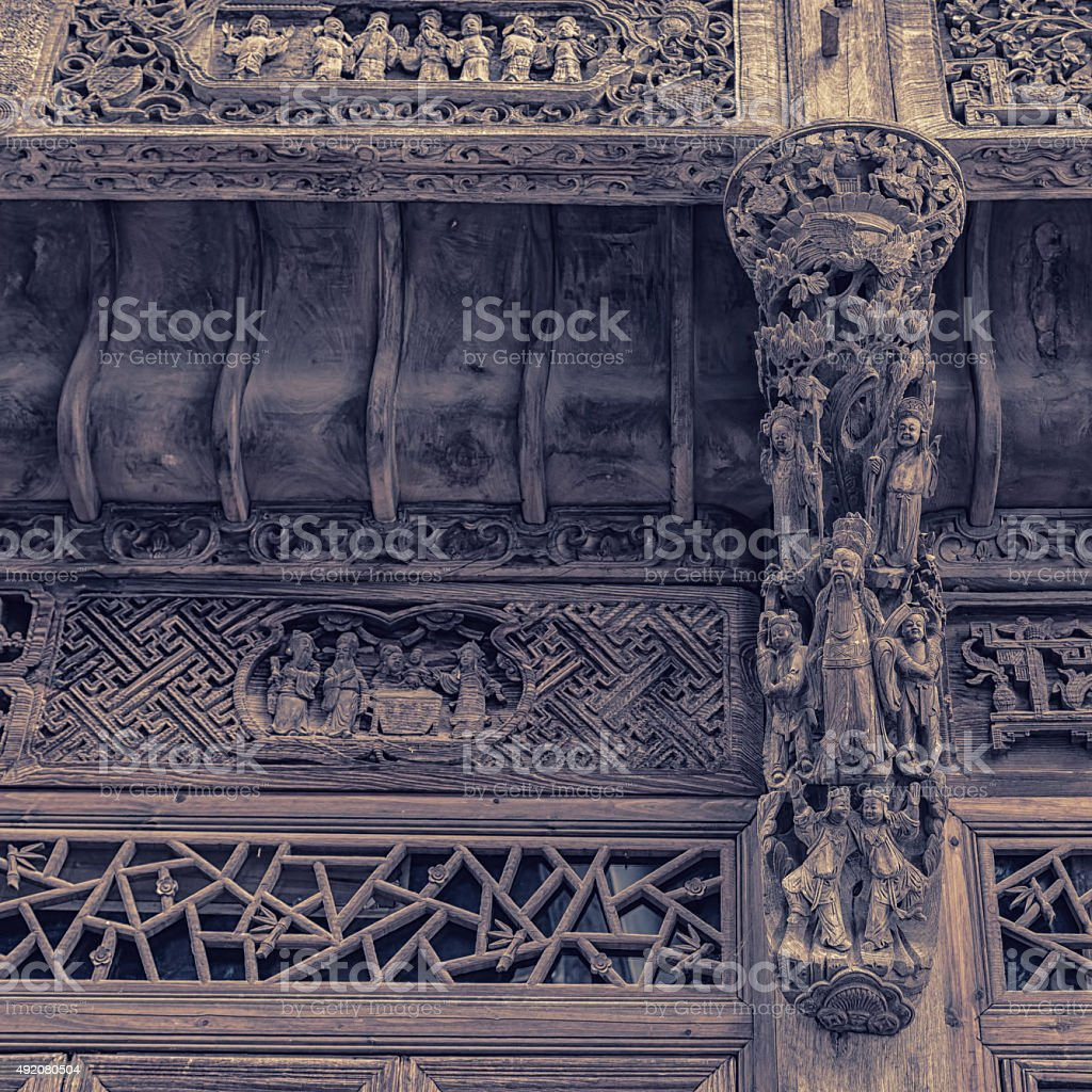 Chinese wood carving wall and door stock photo