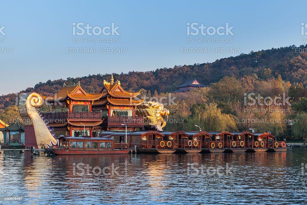 Chinese wooden pleasure boats, West Lake, Hangzhou stock photo