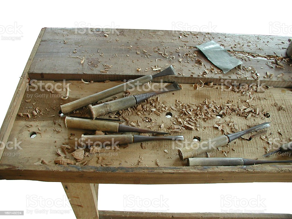Chinese woodworkers table with tools royalty-free stock photo